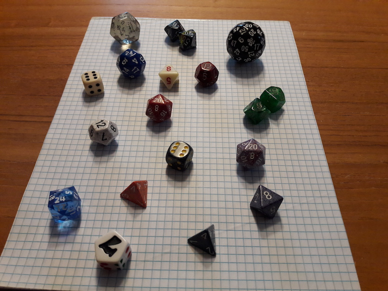 A photograph of many polyhedral dice goes here.
